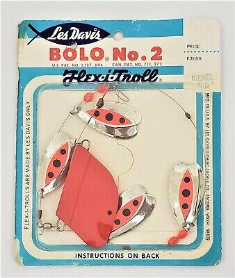 Luhr Jensen Les Davis Bolo No3 4-Blade Brass Red Trolling Rig//Leader NIP