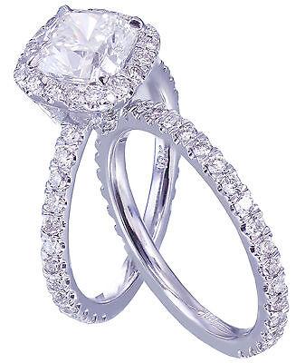 GIA G-VS2 18k White Gold Cushion Cut Diamond Engagement Ring And Band Halo 2.30c 6