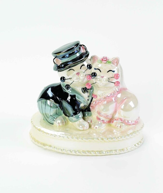 """WhimsiClay """"Wedded Bliss"""", wedding cat couple signed by Amy!"""