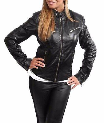Womens biker real leather jacket BLACK slim fit zip up best TOP QUALITY coat