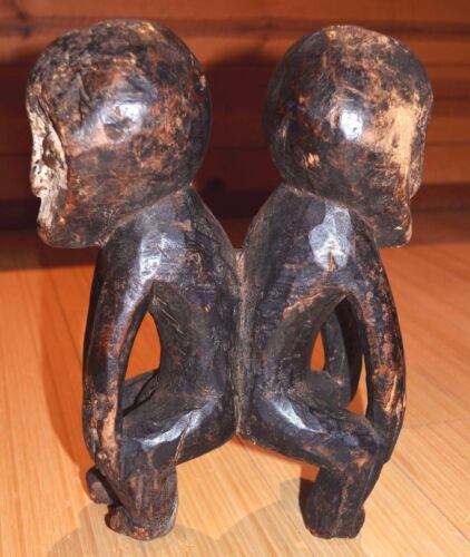 Antique African Lega Tribe Male Female Couple Figure Bwami Society Congo, Africa