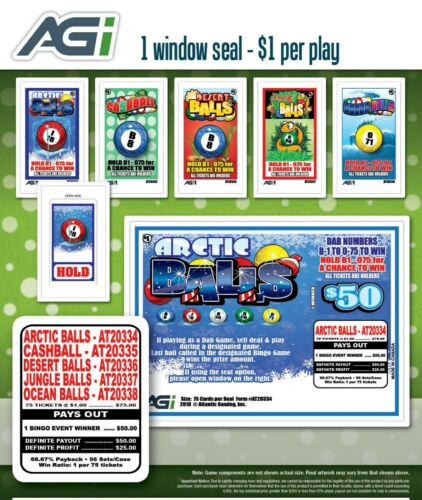 5 GAMES VARIETY PACK, 1 WINDOW PULL TAB TICKETS, 75 Count @ $1 with $25 PROFIT