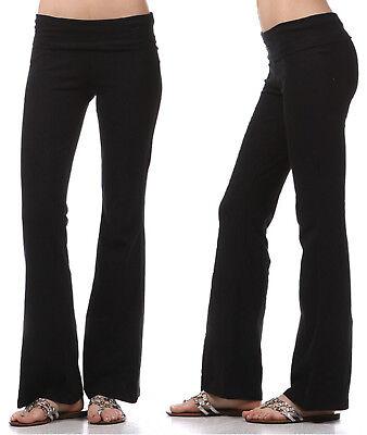 YOGA Pants Flare Leg Long Fitness Foldover Waist Womens Workout Gym Zenana  Waist Yoga Pants