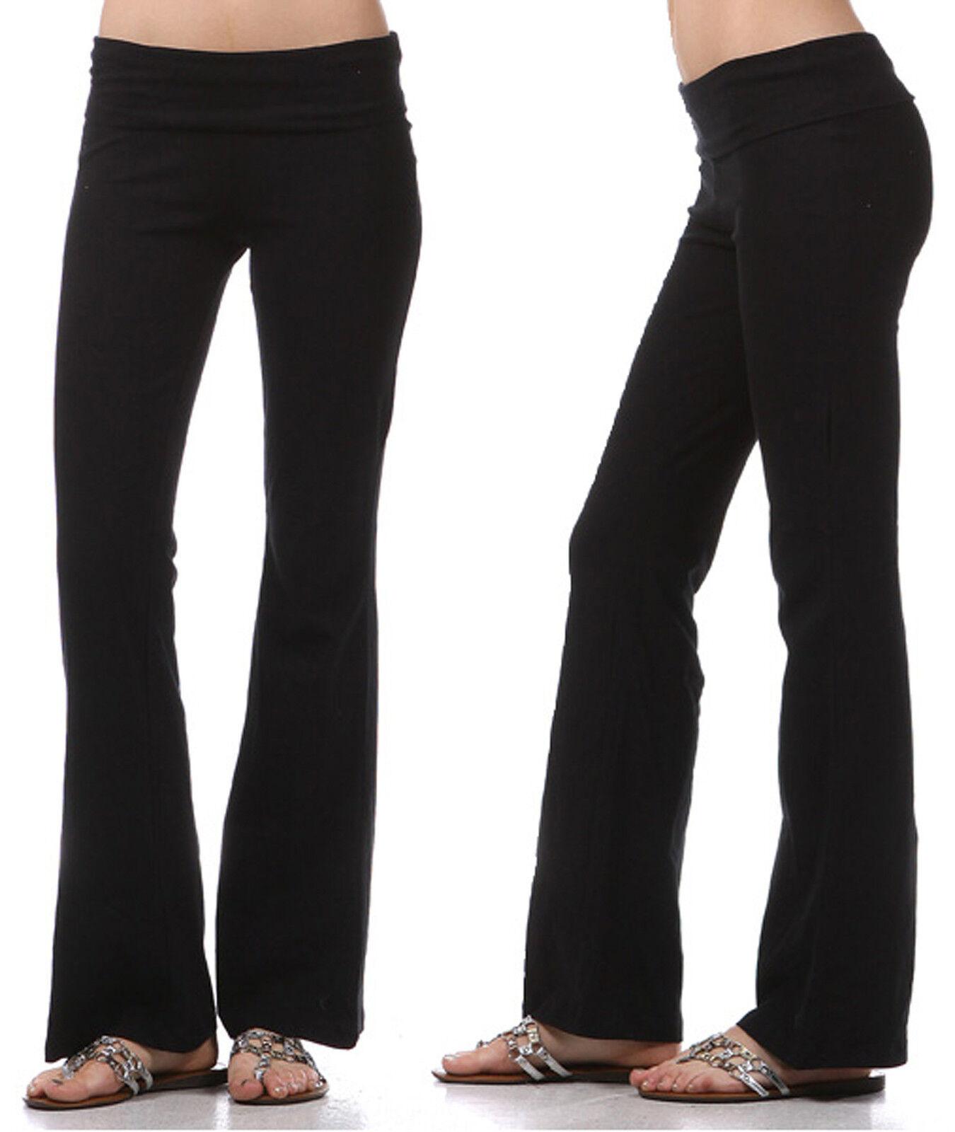 yoga pants basic long fitness foldover waist