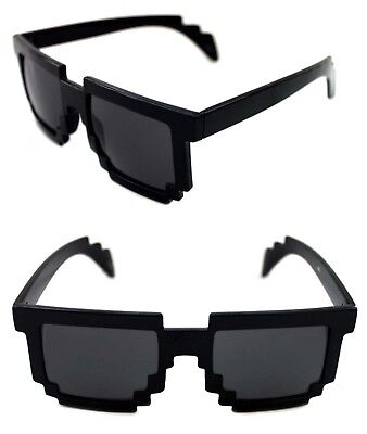 Men's Women's 8 Bit Tetris Pixel Sunglasses Polished Black Frame Retro Novelty - 8 Bit Sunglasses
