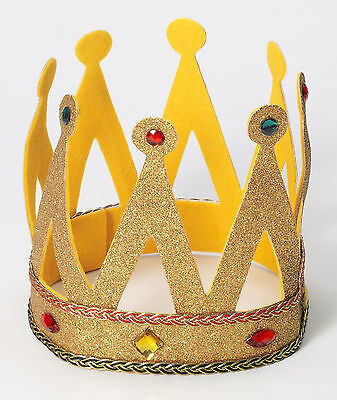 Royal King Crown with Gold Glitter and Gems Adult Size Prom Renaissance
