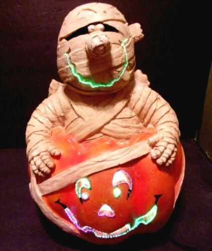 FIBER OPTIC Shimmering COLOR Changing Halloween MUMMY  in JOL PUMPKIN Figure