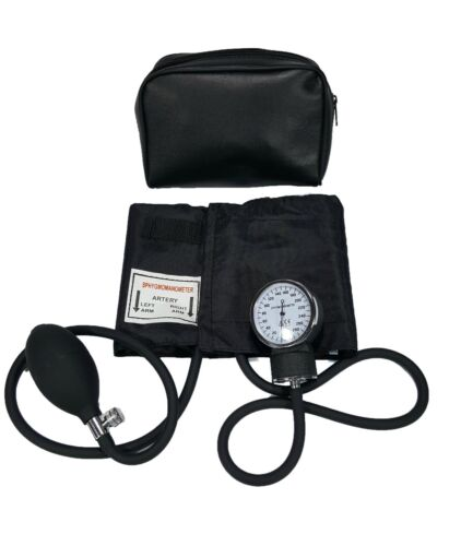 LINE2design Manual Blood Pressure Cuff - Aneroid Adult Arm BP Monitor With Case