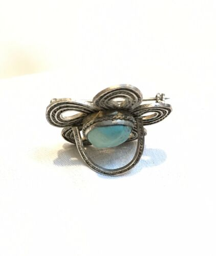 Antique Endless Loop Silver Filigree Chinese Turquoise Brooch Pendant - $55.00