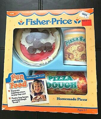 FISHER PRICE 1988 FUN FOOD ● TIKES PIZZA SET DOUGH CAN CHEESE BAG ●NEW RARE 2136