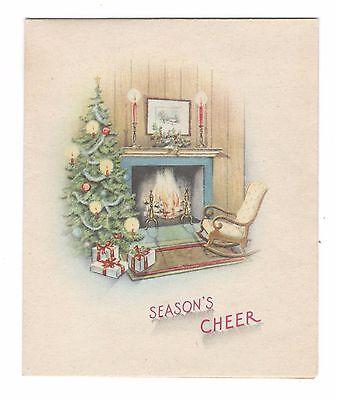 Vintage Christmas Greeting Card Cozy Fireplace Living Room Christmas Tree ()