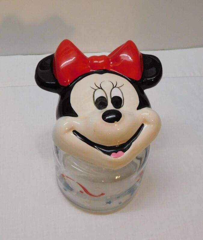 Minnie Mouse Canister Jar Red White Blue The Walt Disney Company Vintage