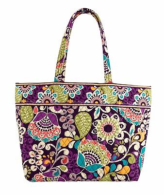 Deluxe Zippered Tote Bag - NEW Vera Bradley Grand Tote Bag Plum Crazy  12325 137
