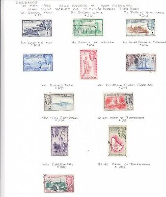 Barbados 1950 King George V1 Issues Not Complete set