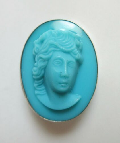 Antique Hatpin Large Turquoise Molded Glass Woman