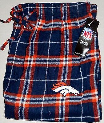 Flannel Mens Pajamas - DENVER BRONCOS MENS FLANNEL SLEEP LOUNGE PAJAMAS PANT L XL 2X CHECKS BLUE ORANGE
