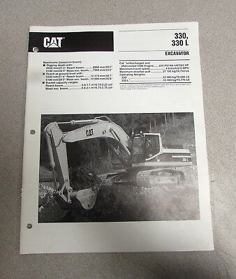 Cat Caterpillar 330 330l Excavator Specification Brochure Manual Aehq3598-01