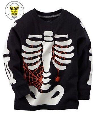 Carter's NEW Toddler Boy Glow in the Dark Halloween Skeleton Tee Black Size 9M - Toddler Glow In The Dark Skeleton Costume