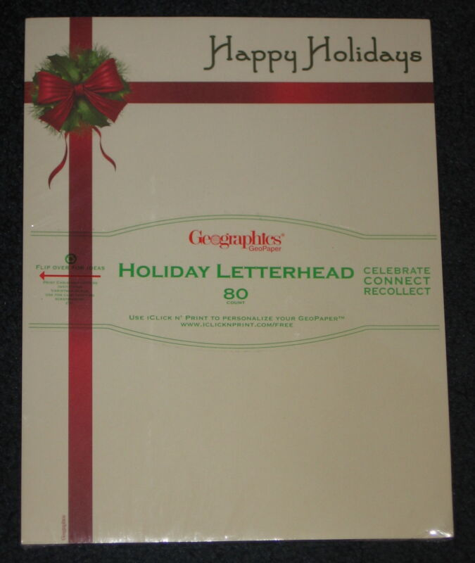 HAPPY HOLIDAYS Geographics Letterhead Invitations Scrapbooking Paper 80 Count