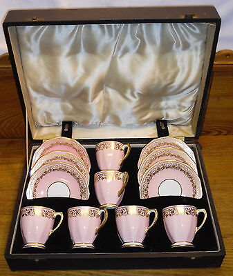 6 Spode Copeland England China Demitasse Cup & Saucer Sets Original Case Y5966