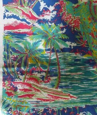 Palm Tree Scene (Palm Tree Beach Teal Blue Ocean Scene Print Knit No Stretch Fabric 1)