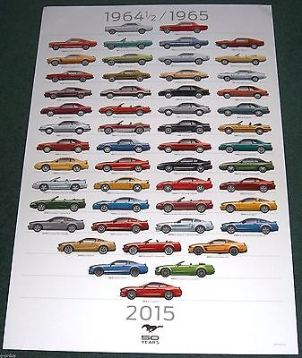 LOT OF 2 FORD MUSTANG 50TH ANNIVERSARY DEALERSHIP ONLY POSTERS! 2 FT x 3 FT SIZE