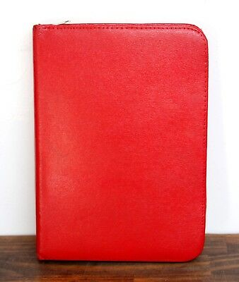 8x10.5 Vintage Red Pebbled Split Leather Zip Notes Id Card Organizer Planner