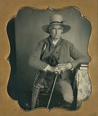 Man with Prosthetic Wooden Peg Leg Crutch + Cane 1/6 Plate Daguerreotype D847