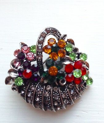- FLOWERS & EASTER BASKET BROOCH PIN --  Colorful Crystals / Silver-tone