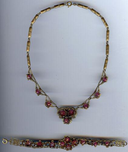 VINTAGE CZECH BEAUTIFUL DAINTY PINK CRYSTAL & BRASS FLOWERS NECKLACE & BRACELET