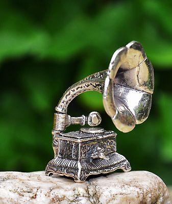 Grammophon in 800 Silber Vitrinenobjekt Minuatur Sammeln Antik Musikinstrument