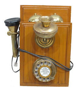 VINTAGE WOODEN BELL BOX TELEPHONE IN WALL MOUNTED