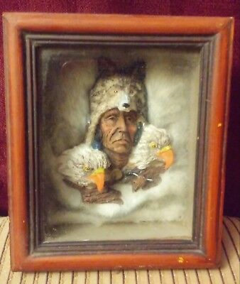 Native American Indian fur with wolf and eagles shadow box