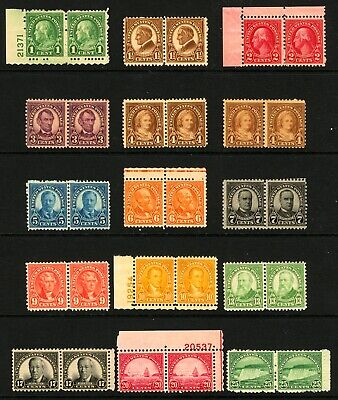 #632-#699 1926-1934 1c-25c Assorted Rotary Press Horizontal Pairs MNH 15 Items