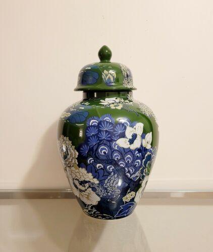 "Williams Sonoma Schumacher Shanghai Peacock Green Ginger Jar 18"" NEW"