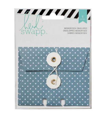 Heidi Swapp WANDERLUST MEMORYDEX (6) ENVELOPES with STRING CLOSURES scrapbooking