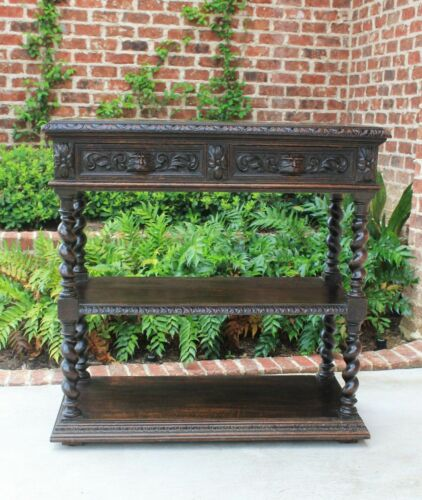 Antique French Oak Sideboard BARLEY TWIST Breakfast Server Buffet Gothic Cabinet