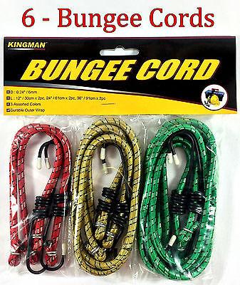 "6pc Bungee Cord Tie Down Straps Bungie Cords Assortment Set 12"" 24"" & 36"""