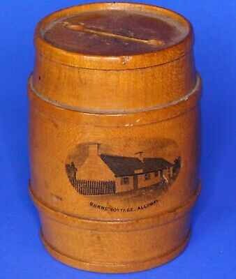 Antique Victorian Mauchline Ware Money Box Burns' Cottage 8cm *[17706]