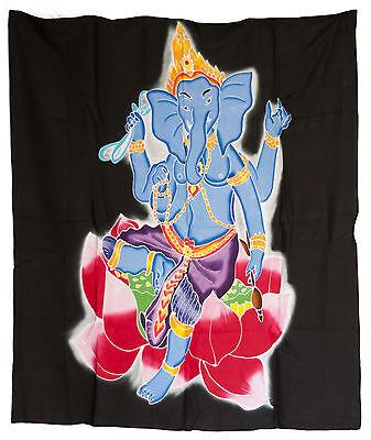 Batik Ganesh Dieu Hindu Head Elephant Hanging Cotton Handmade 107x93cm 6541 U