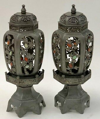 Antique Pair of Asian Pewter Lanterns with Hardstone insets