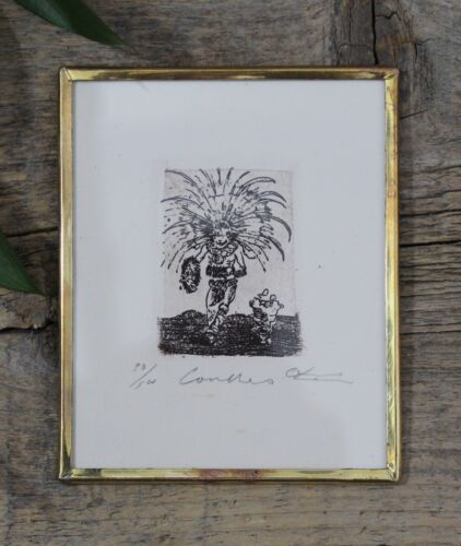 Small Concheros Aztecas Dance Etching Print Handmade Mexican Folk Art by Abelar