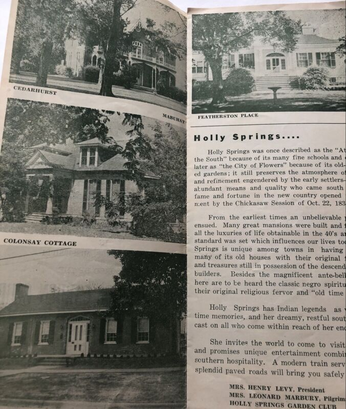 1951 Holly Springs MS Garden Club Historic Houses Book Pilgramage South