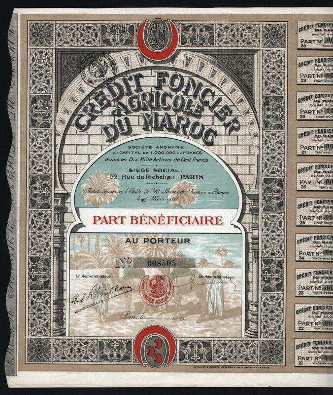 1920 Morocco: Credit Foncier Agricole du Maroc Societe Anonyme