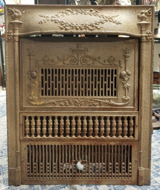 Late 19th Century American Art Nouveau Cast Iron Fireplace Insert