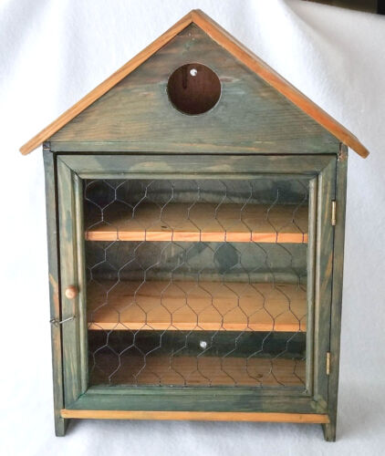 Spice Cabinet, Collectible Display Box, Rustic Hand Made,  Chicken Wire Door