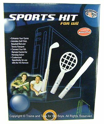 Wii SPORTS KIT Golf Club Tennis Racquet Baseball Bat Remote Accessories Set I
