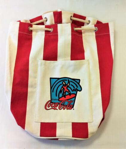 Coca Cola Canvas Tie-Down Beach Tote Bag with Side Pocket - New