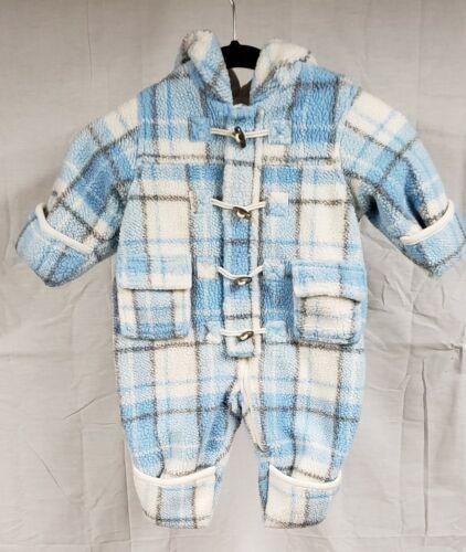 The Children's Place Fleece Infant Snowsuit Light Blue Plaid (Size 6-9 Months)