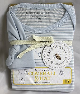 Burts Bees Baby 2 Piece Outfit White Blue Stripe Long Sleeve Footed Coverall Hat
